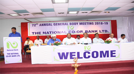 Hon'ble Director Shri L.W.Kale addressing the shareholders at the Bank's 72nd AGM